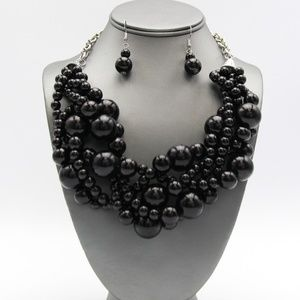 Jewelry - Black Braided Multi-Layer Pearl Necklace Set
